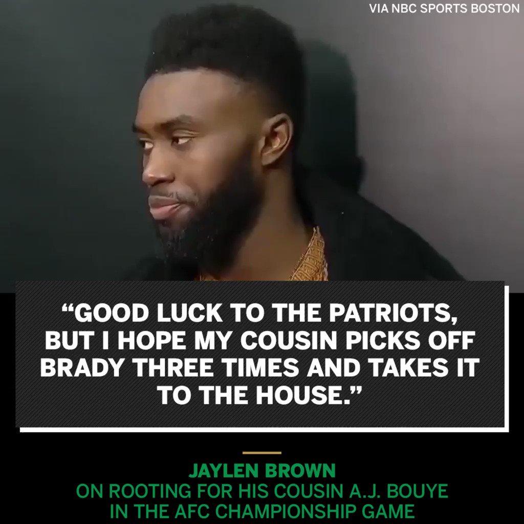 Jaylen Brown is picking family over the Patriots on Sunday. https://t.co/IAtZP7WleB