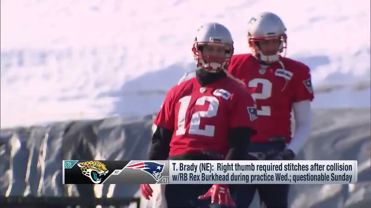 The latest on #Patriots QB Tom Brady's hand the night before the AFC Title Game vs. the #Jaguars. https://t.co/SkbxAKt2Cr