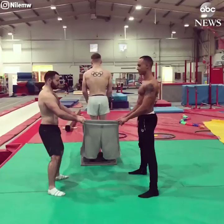 One Leg at a Time: British gymnasts practice putting on pants in a...unique way. https://t.co/Ch1MQ7fxBy https://t.co/3EwBwpprRX