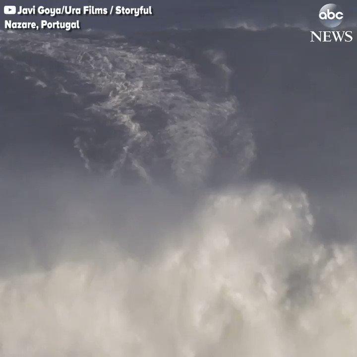 Surfs up Big Wave Surfer expertly rides monster wa
