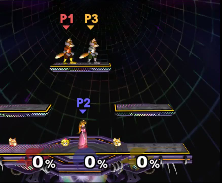 This is still one of the nicest combos I've ever done. The two Foxes in this clip received the exact same controller inputs, and were desync'd using positioning differences and hitlag.