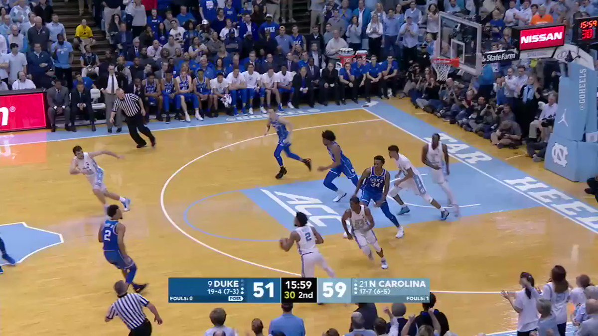 Just two points from a huge 14-0 run for the Heels. https://t.co/D48jVdPaez