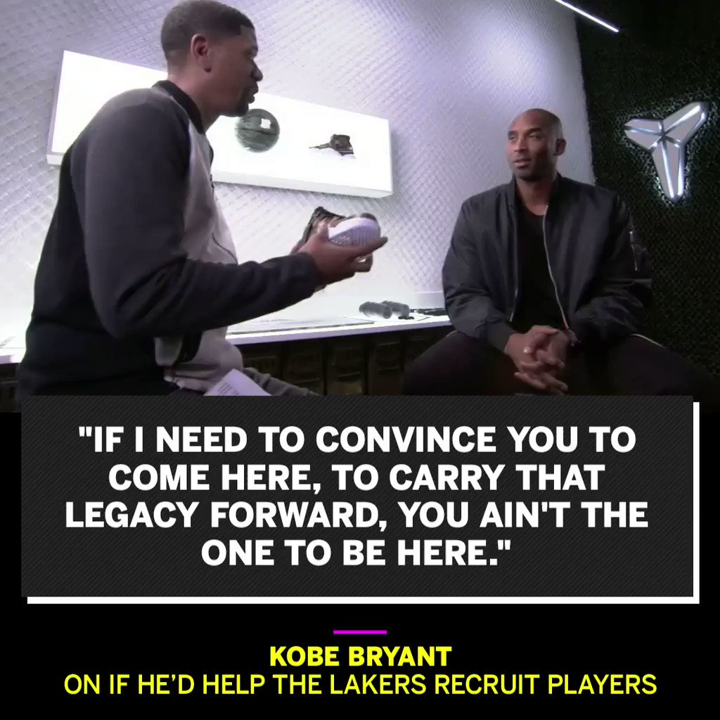 .@kobebryant tells @JalenRose why a player shouldn't need to be recruited to play for the Lakers. https://t.co/BVxhs3d9Ig