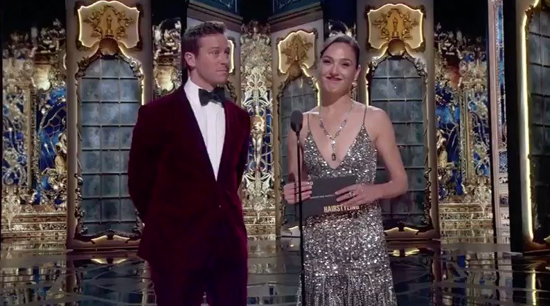 The most perfect presenters: @armiehammer + @GalGadot #Oscars �� https://t.co/Nrzp1SqeSw