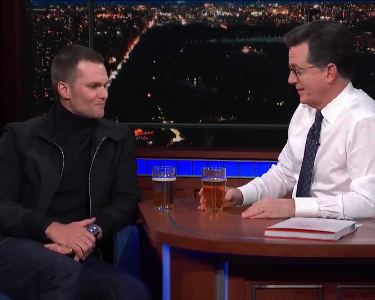 Tom Brady also the �� of beer drinking.  (via @colbertlateshow) https://t.co/Y3Leh4Ham4