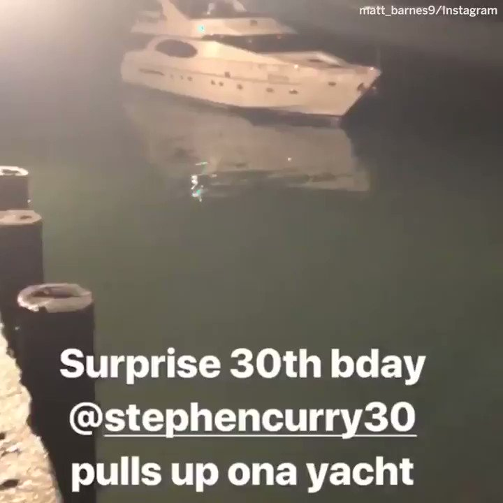 Steph Curry showing up to his own birthday party ON A YACHT. https://t.co/IfwW0DhbWw