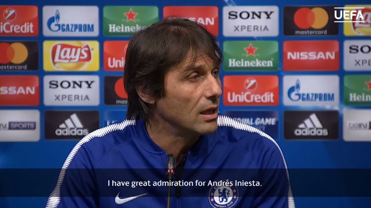 Conte: 'Andrés Iniesta is like Andrea Pirlo - a genius.'  Agree? Who is football's all-time genius? #UCL https://t.co/5p0muffU0u