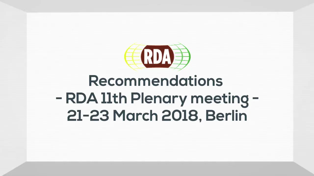 Did you miss our #RDARecommendations & Outputs session this morning? Here are some highlights for you! #RDAplenary #DataSharing #MetadataStandards #RepositoryInteroperability #DataCuration https://t.co/BjCL22Hxki