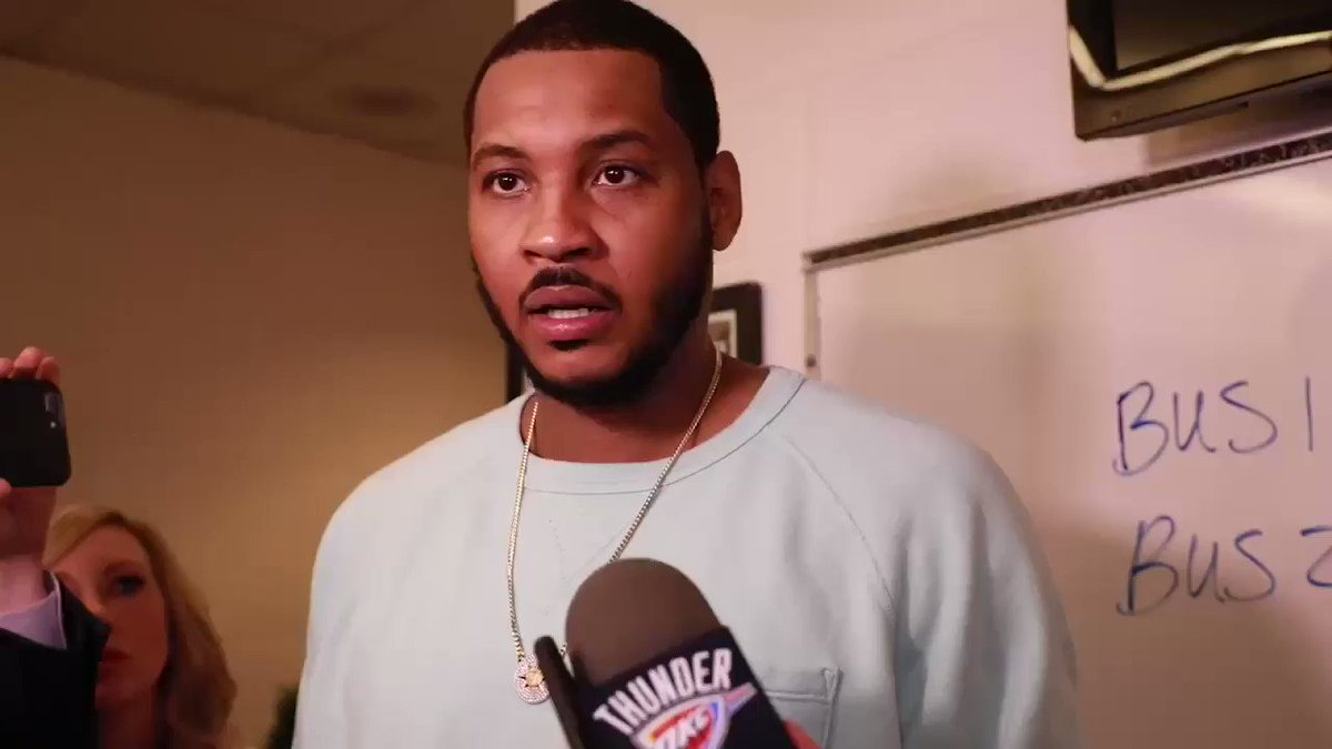 Trust...Focus...Communication  Melo, Russ & PG on the win and what's ahead. #ThunderUp https://t.co/s0bSXzlvvz