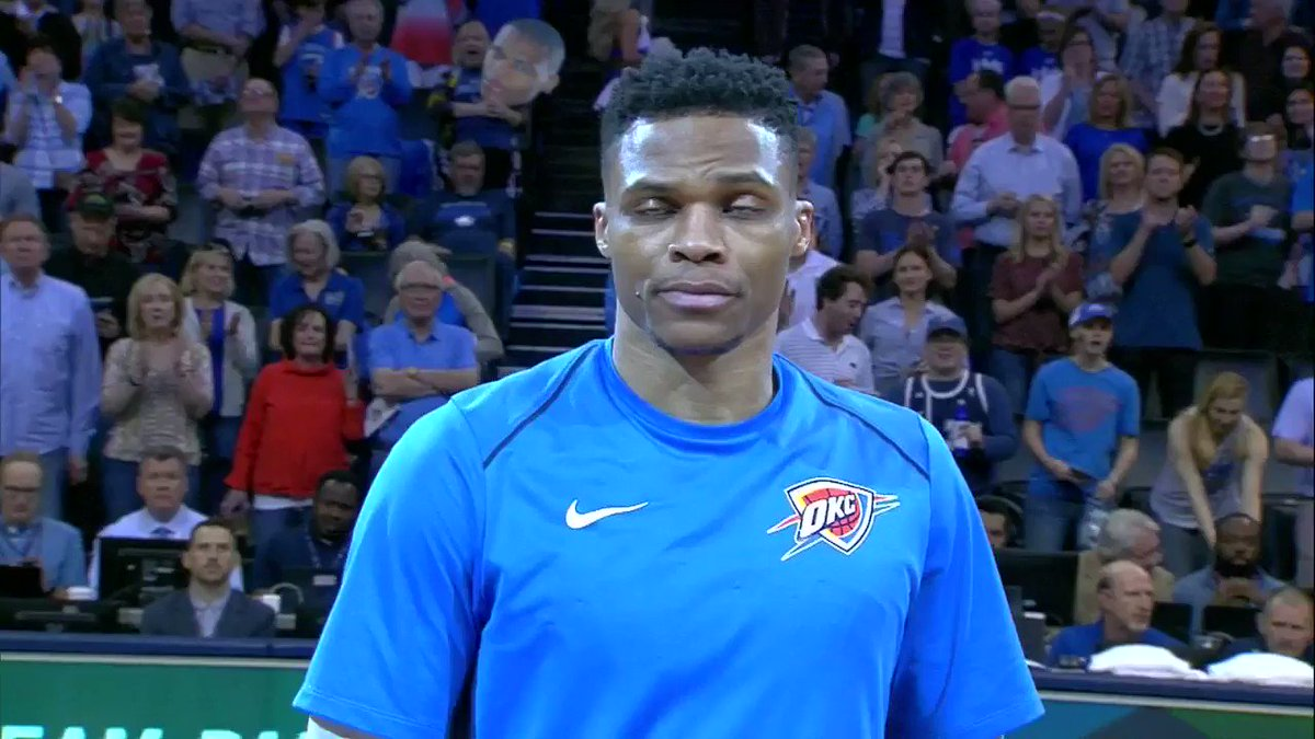 Game 82 starts with one very special moment.  The Brodie & Mr. Thunder. https://t.co/kqMLxmwJd0