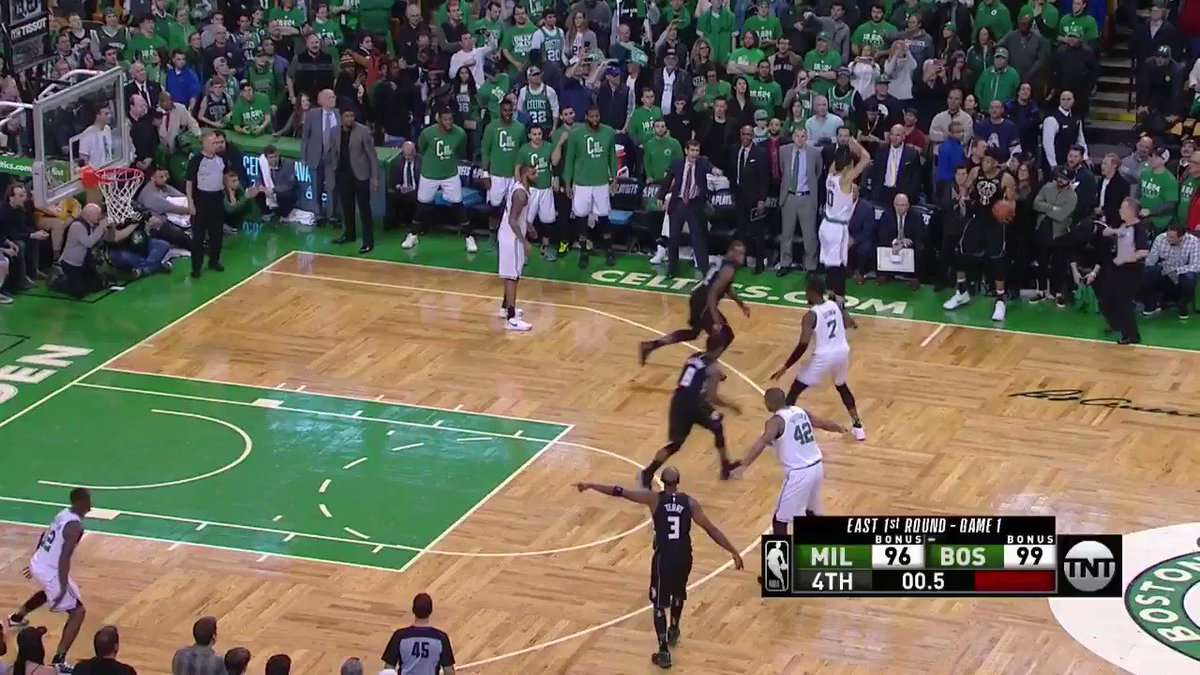 ARE YOU KIDDING!?  Khris Middleton sends Game 1 in Boston to OT with the ridiculous buzzer beater! https://t.co/XUfMBKipzL