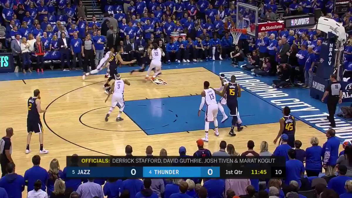 But of course. Game 1 opens with a PG steal. #OKCvsUTA https://t.co/gk0v36Yqr4