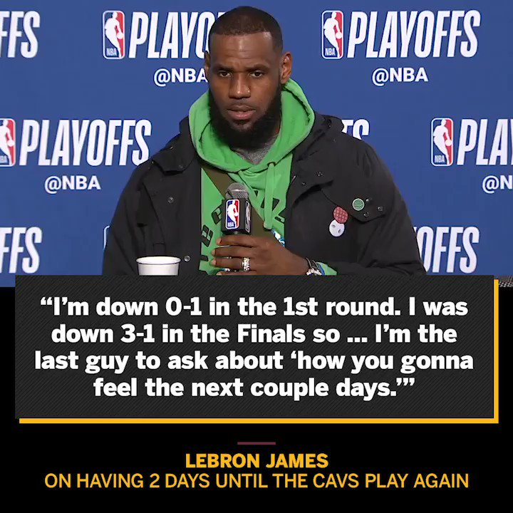 LeBron is in the opposite of panic mode. https://t.co/ZiL2R5bJPW