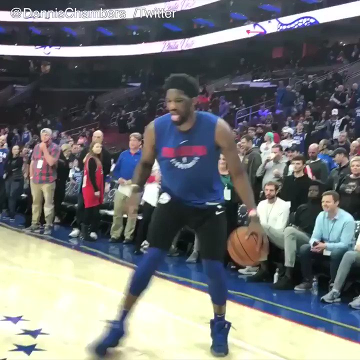 Embiid channeled his inner Harden during warm-ups �� https://t.co/kME6w1AHNh