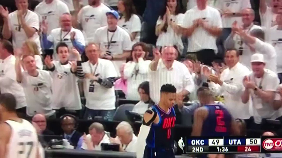 This game has everything, including Mitt Romney taunting Westbrook lol https://t.co/dGmu2v9RFy