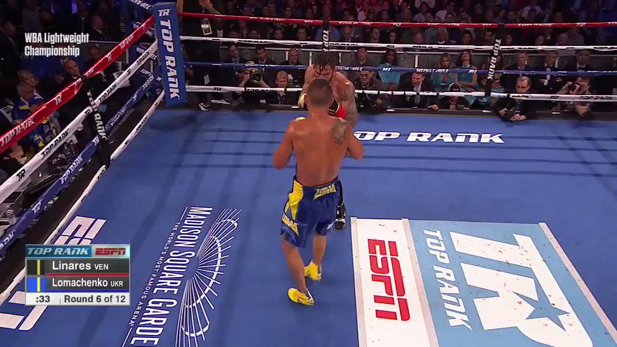 Lomachenko is knocked down in Round 6!   He's back up as we head into Round 8 for #LinaresLoma. https://t.co/ecMdXrIG8v