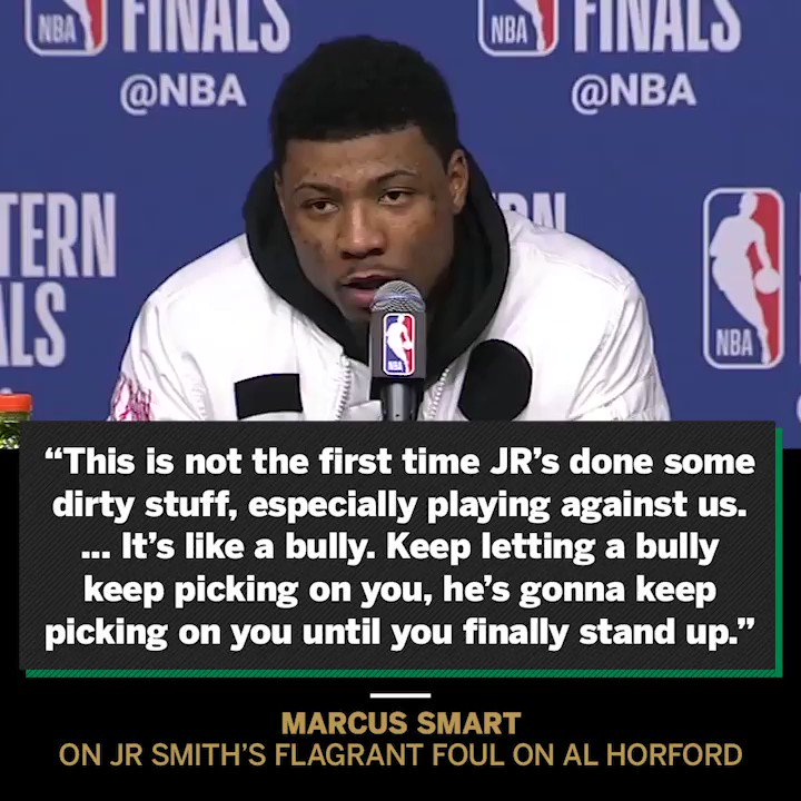 'That's a dirty shot.' Marcus Smart talked about JR's shove after the game. https://t.co/jh8AgaUCWd