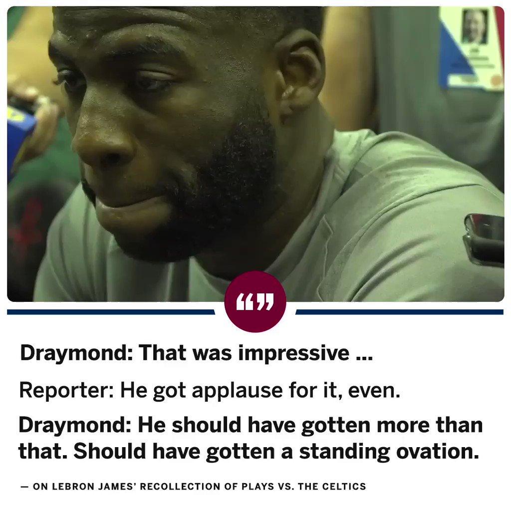 Draymond thinks LeBron's photographic memory deserves a standing ovation. https://t.co/bwKQkgtT37