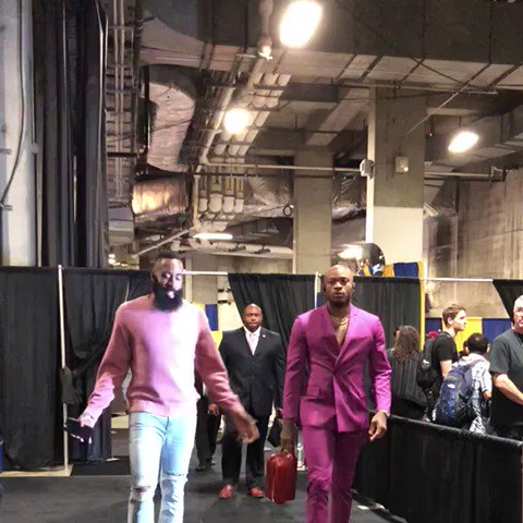 James Harden & PJ Tucker arrive in #NBAStyle for a pivotal Game 3 in Oakland. https://t.co/Z82GbpC0lf