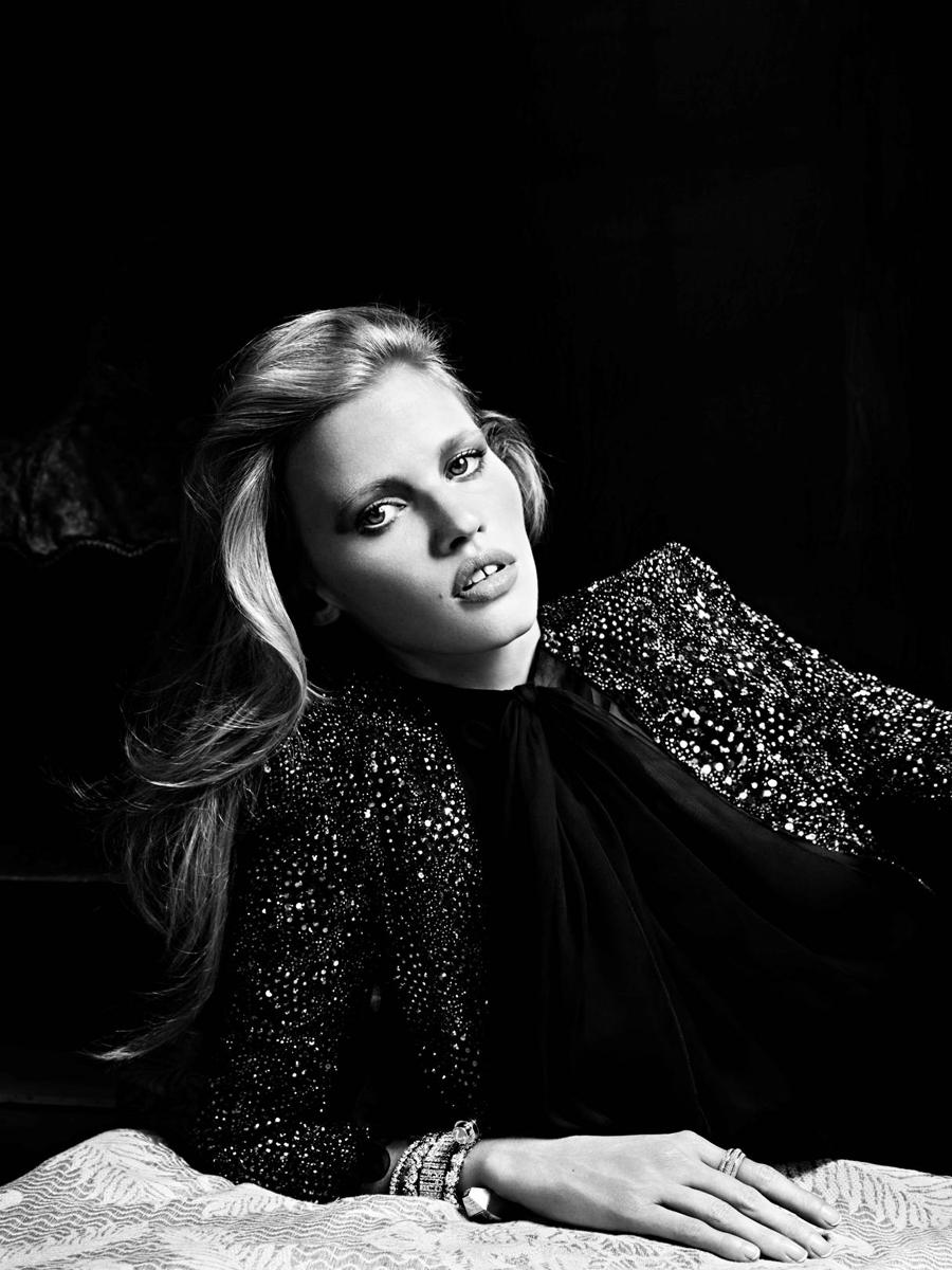 LARA STONE COVERS JANUARY ISSUE OF RUSSIAN VOGUE IN SAINT LAURENT COUTURE JACKET AND MOUSSELINE BLOUSE http://t.co/PTTsB7JN