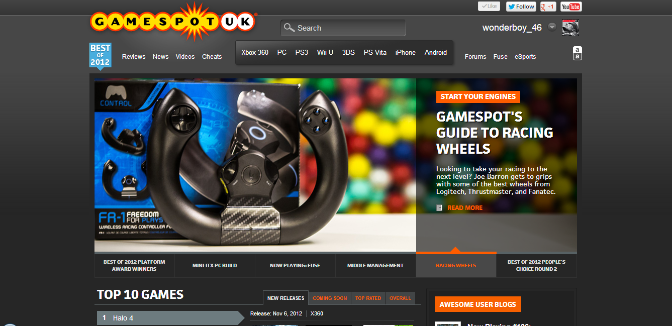 GameSpot homepage carousel