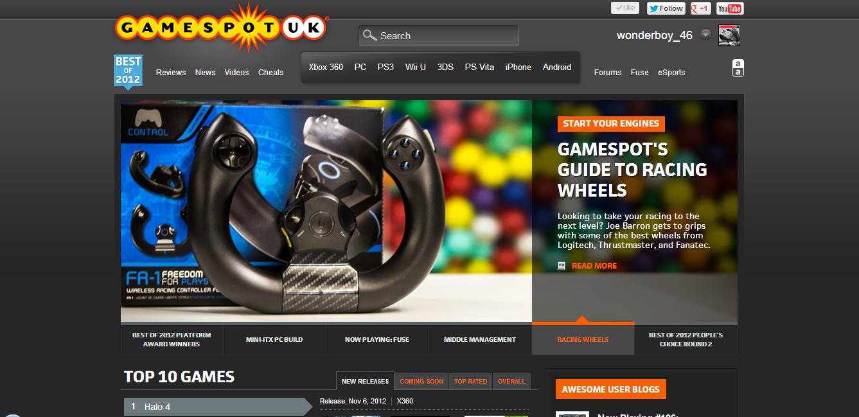 GameSpot homepage carousel
