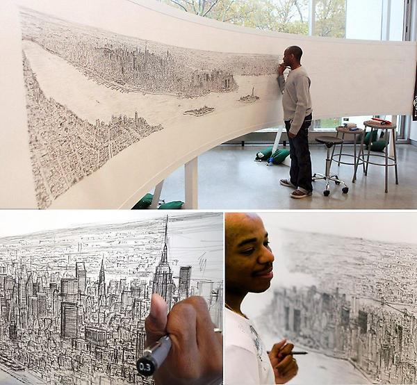 After a helicopter ride, autistic artist, Stephen Wiltshire was able to draw the New York skyline just from memory. http://t.co/xx7W7NXV