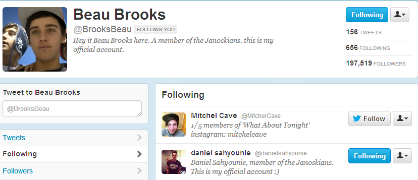 RT @JanoskiansArmyy: Beau only just followed Daniel lol wot http://t.co/RLxGU93e