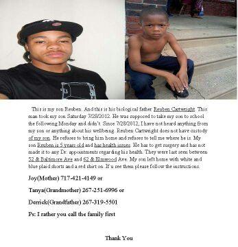 @FOX29philly Kidnapped Child Reuben Cartwright, Taken by father, child need surgery http://t.co/CKI3rboE