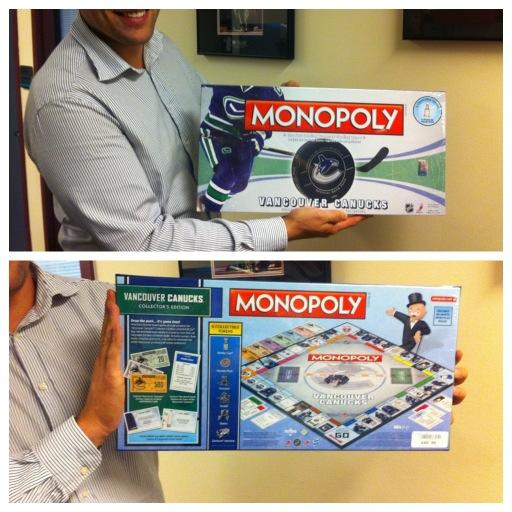 Canucks Team Store (@CanucksStore): Ch-ch-check out what just arrived in the #Canucks Team Store! #monopoly http://t.co/F4fyJZb1