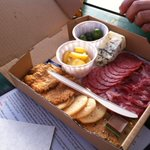 Here's the cheese box from @andcrack food cart. Rogue Oregon Blue and homemade crackers to die for. Edelweiss salami!