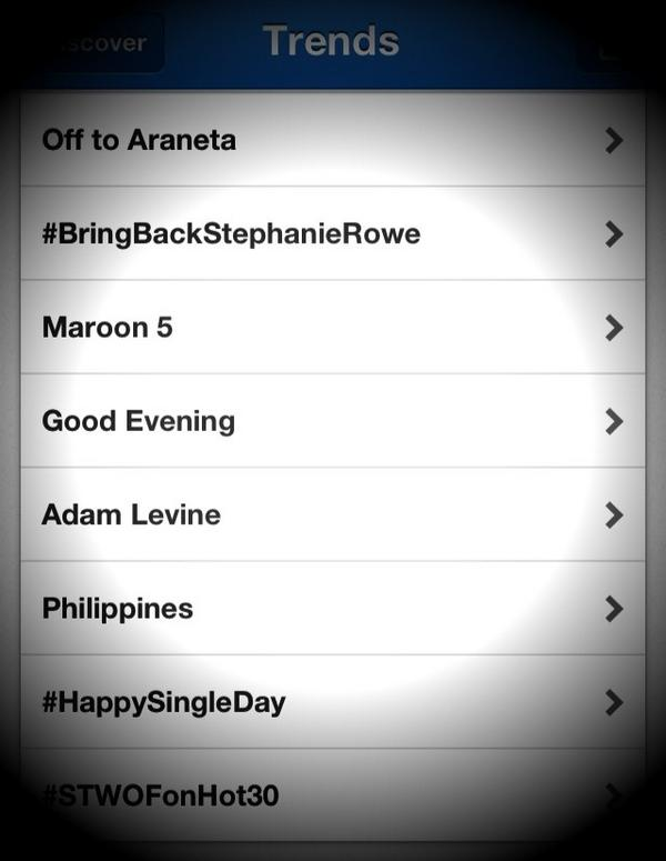 Maroon 5 is also trending in the Philippines! RT @benchtm Our newest #GlobalBenchsetter Adam Levine is trending! http://t.co/Jrm5tFMT