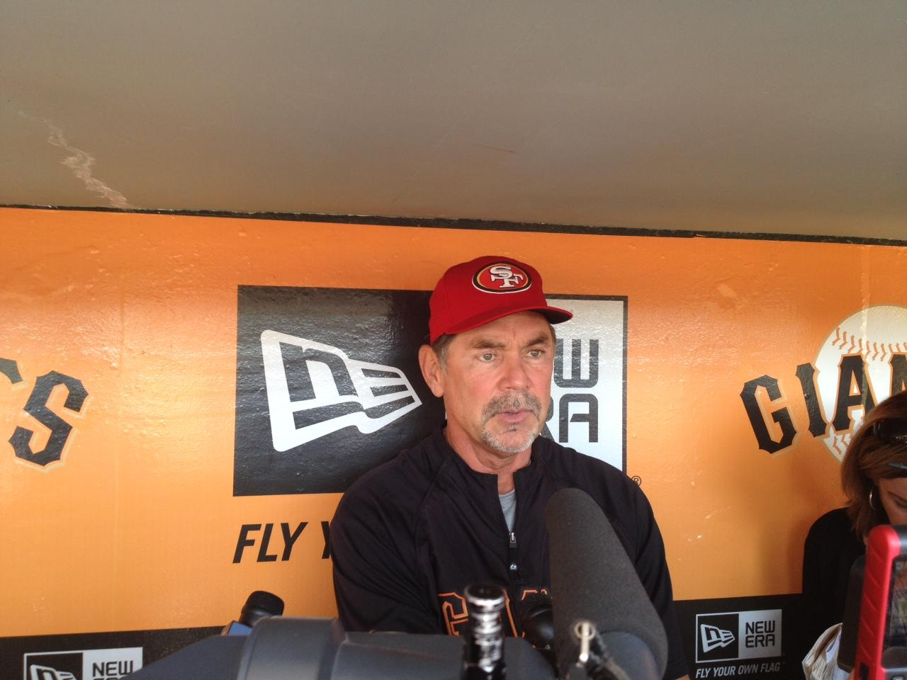 The NFL will probably try to fine Bochy. RT @SFGiants: Bruce Bochy has Alex Smith's back http://t.co/Vyxc7QeT