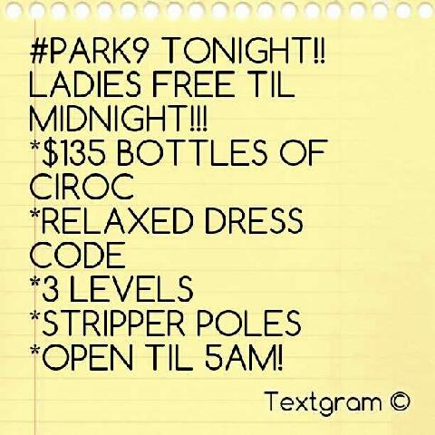 #PARK9 TONIGHT!! #PARK9 TONIGHT http://t.co/3diECF7C