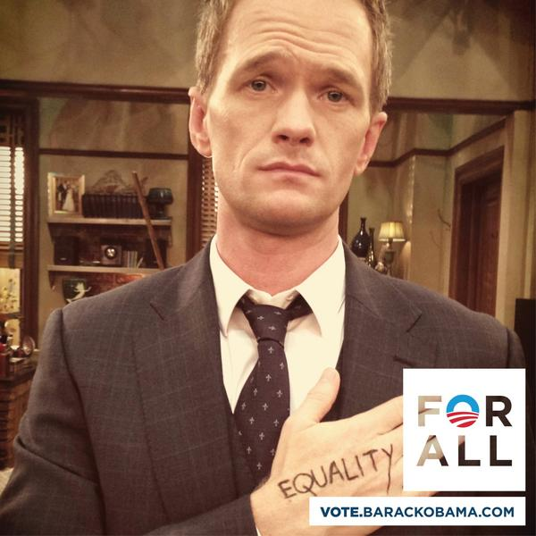 Neil Patrick Harris (@ActuallyNPH): I'm voting for President Obama because I believe in equality #ForAll  http://t.co/fWxO29dx http://t.co/UbzrcANF