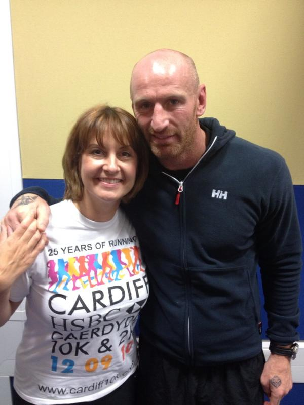 A glowing @LouiseTalks after a workout with @gareththomas14 live on @bbcradiowales http://t.co/6bMhmIly