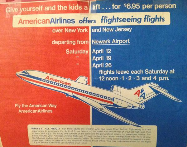 How cool was this? AA offered 5 sightseeing flights a day in a 727 out of NY. Proof: http://t.co/1XMHIM0J