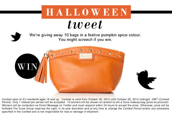 #RTtoWin 1 of 10 Dune bags in a Halloween pumpkin spice colour. You may SCREECH if you win! #comp ends 28/10 midnight. http://t.co/mLJ0KUu7