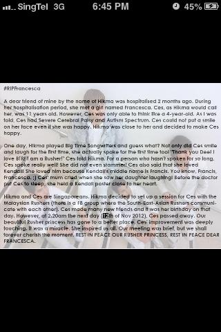 @Boythunder913 We lost a Singaporean Rusher. Could you please read this & spread the word? #RIPFrancesca http://t.co/sJpy69Rx