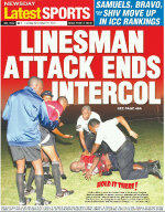 Absolutely Mental! A linesman beats the crap out of a pitch invader in Trinidad (San Fernando v Shiva Boys)