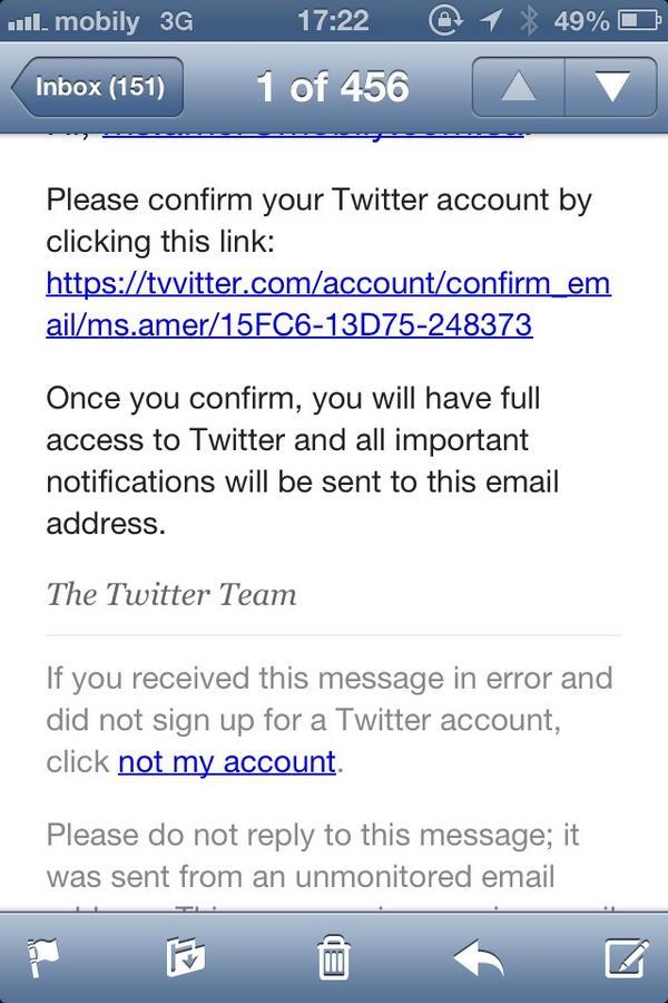 مدحت عامر (@Medhat_Amer): اذا وصلكم ايميل من تويتر فيه رابط يطلب تأكيد الأيميل المسجل ، احذفوه. لاحظوا الرابط فيه كلمة  Tvvitter  ، أسلوب مبتكر! http://t.co/PpvIjGBQ