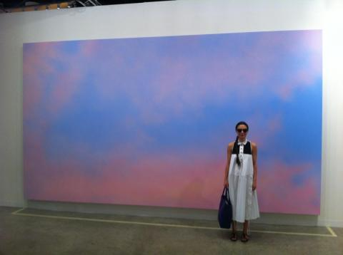 Alex Israel's Sky Backdrop (pictured with China Chow)