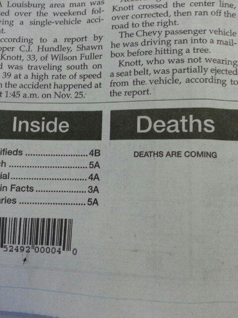 Sam Smith @ThatSamSmith: RT @Bern_Morley: Ominous sub-editing fail of the day http://t.co/9FTJ7buL