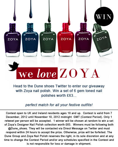 Follow @Dune_shoes & #RTtoWin a @ZoyaNailPolish designer collection (set of 6 worth £63) #comp ends midnight 10/12 GMT http://t.co/xugxIB9D