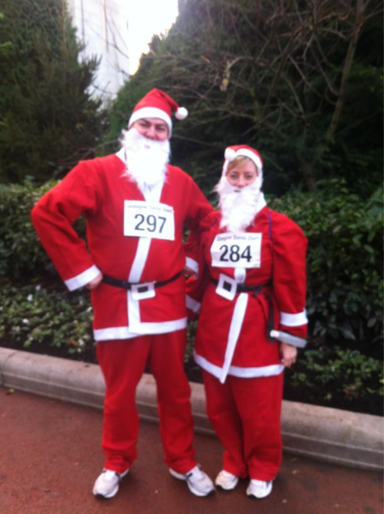 Fraser and Pauline Glasgow Santa Dash 2012