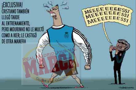 كاريكاتير الماركا  رونالدو وصل متاخر للتدريب ولكن مورينهو لم يغرمه مثل ايكر بل عاقبه بطريقة اخرى  اصبح يصيح :ميييييييسي http://t.co/lc8E1eQm