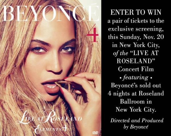 "Retweet: Beyonce LIVE at Roseland DVD Screening"" for your chance to win!! http://t.co/fBeTndfk"