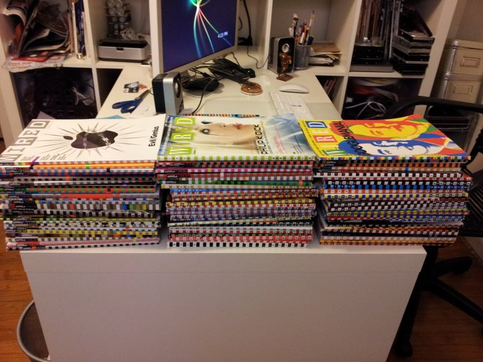 Cleaning out my office, which includes recycling a bunch of old @wired mags. Ne want any? http://t.c