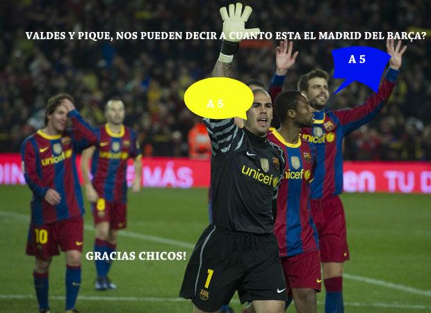 Valdes y Pique...?Nos pueden decir a cuantos puntos esta el Madrid del bar?a? - #A5 -Gracias chicos http://t.co/gwRVL3wb