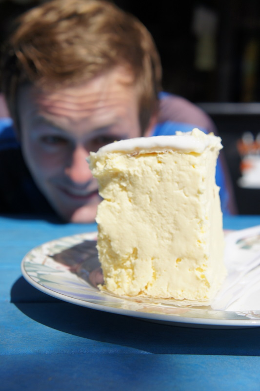 Sampling purportedly the world's biggest and best vanilla slice at Flinders, Vic.